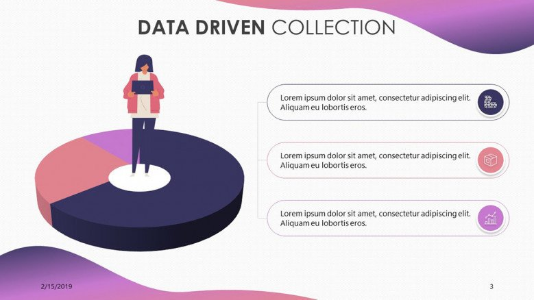data driven pie chart with playful illustration