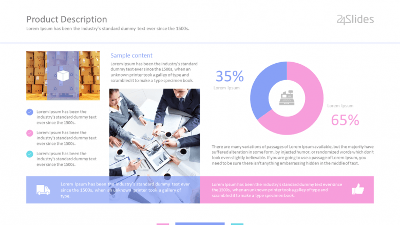corporate dashboard slide with key facts and pie chart