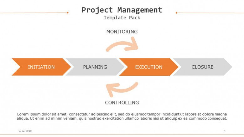 project management flow chart arrows in four steps