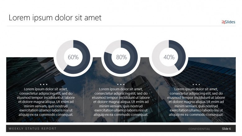 Three data-driven doughnut charts with percentages