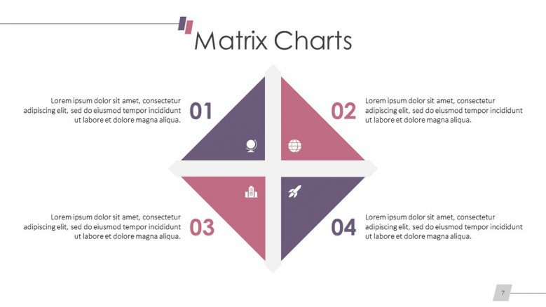 basic matrix chart slide in four parts