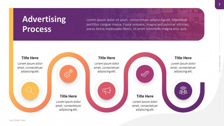 Creative zigzag roadmap for advertising process
