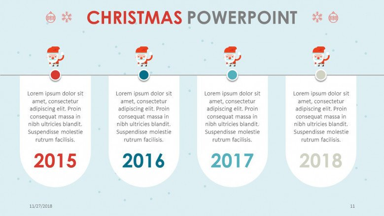creative christmas theme timeline chart with text