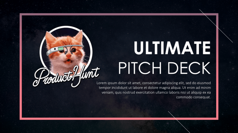 Welcome slide with the Product Hunt cat logo on the left hand side