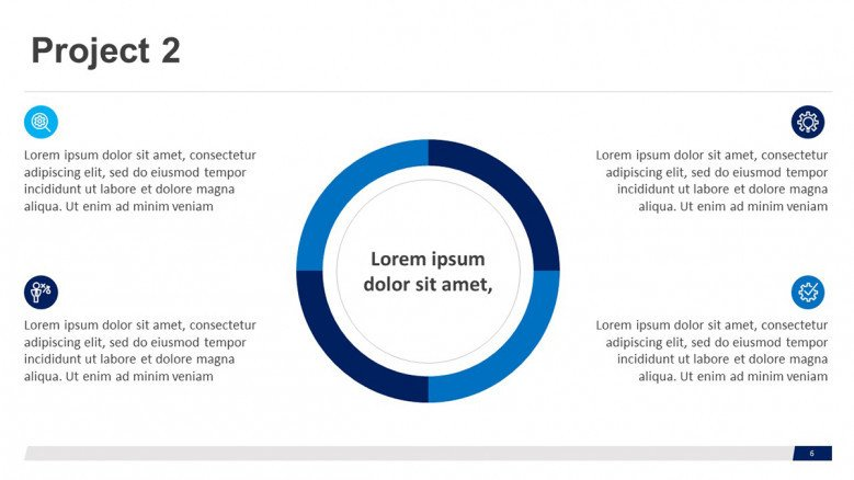 Project slide with a doughnut chart