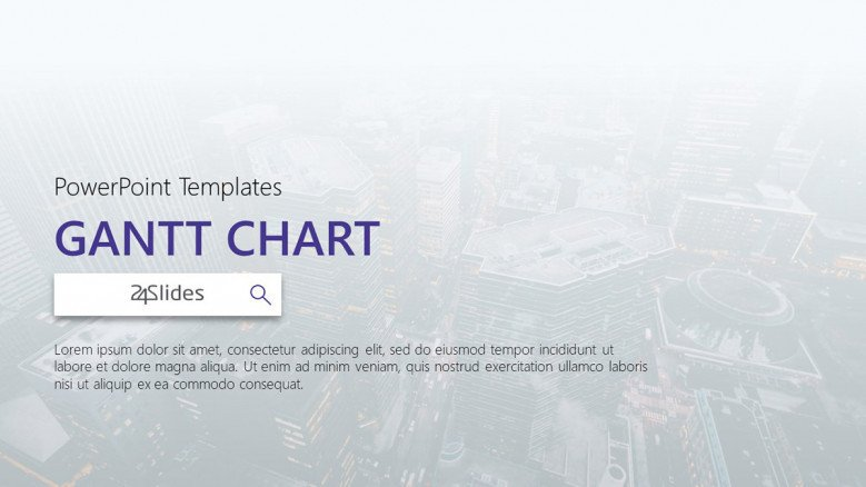 gantt chart welcome slide in corporate style