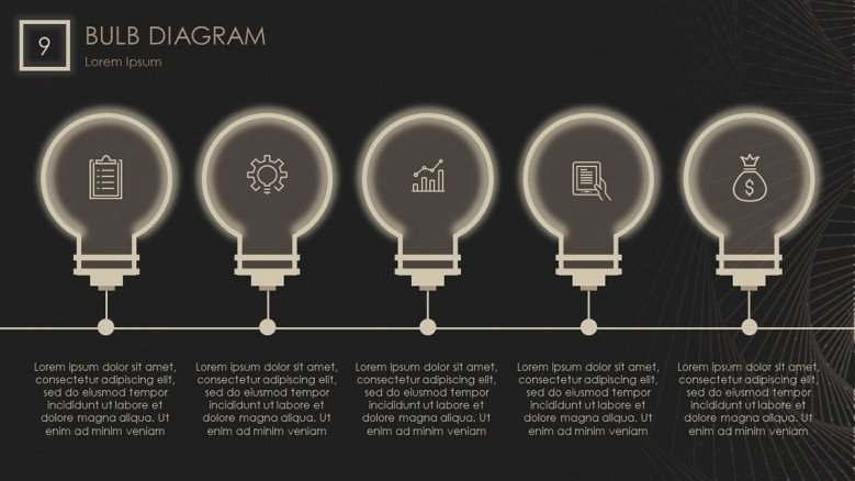 5-step timeline with bulb lights for electric power company presentation