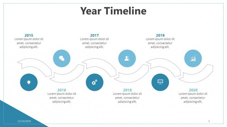 Six-stage timeline for business presentations
