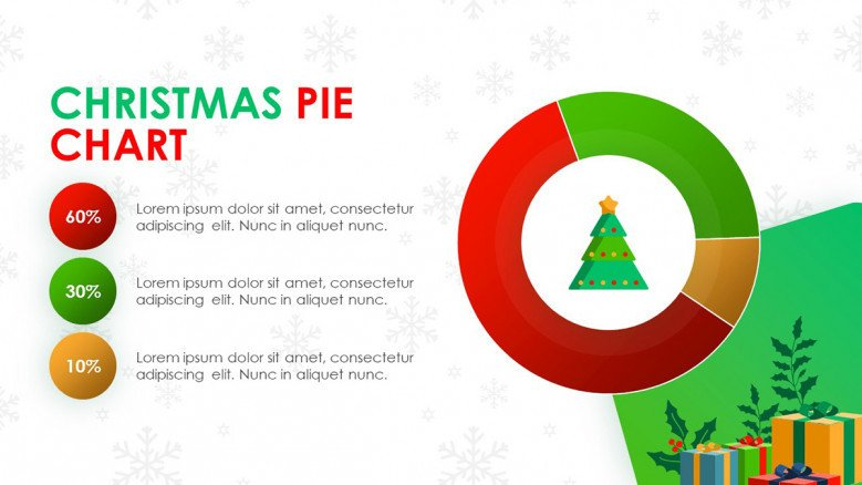 Christmas data-driven pie chart with playful icons