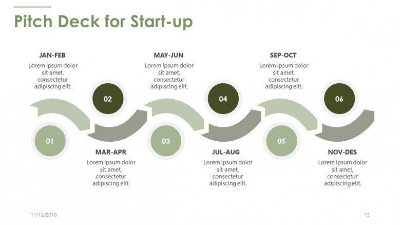 pitch deck for start up in timeline chart