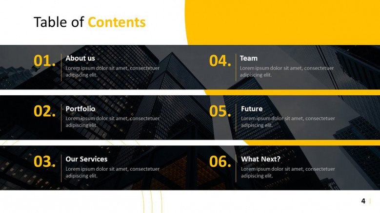 Black and yellow Table of Contents Slide