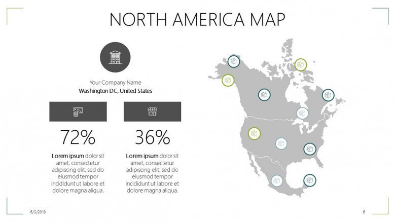 north america map slide with data percentage and text