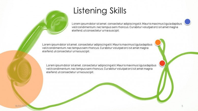 Listening Skills Slide with a phone handler in the background