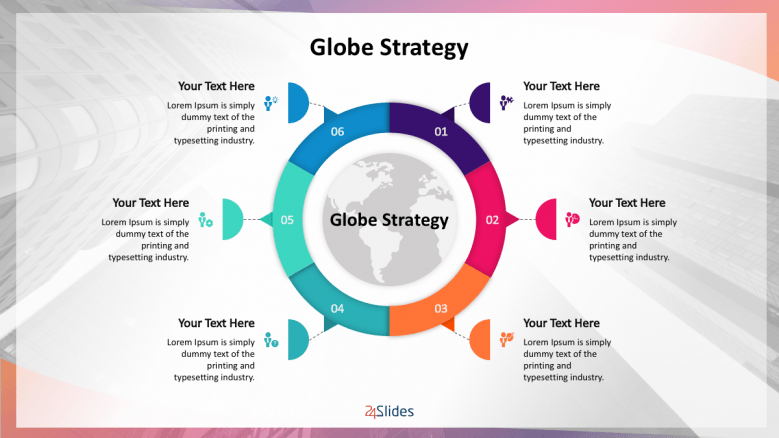 Colorful globe management strategy with 6 text sections