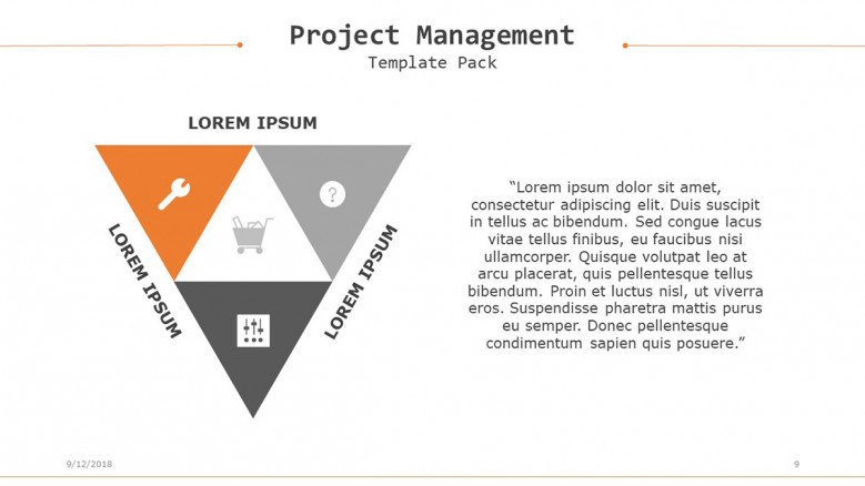 project management slide in pyramid diagram with four segments target