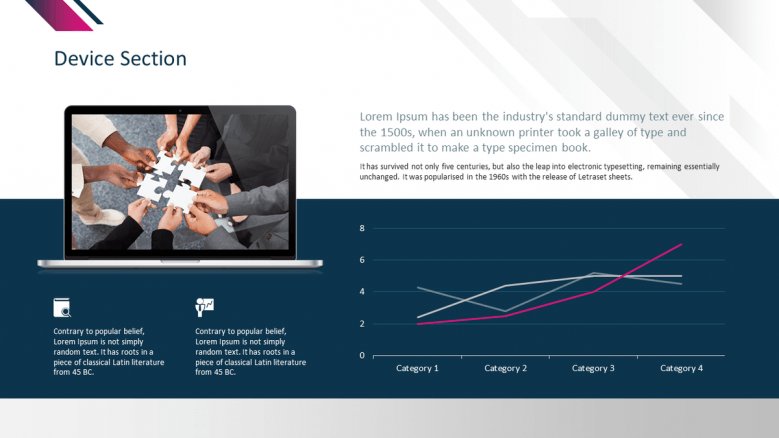 corporate presentation device slide in line chart