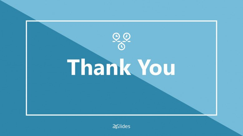 Blue thank you slide in PowerPoint