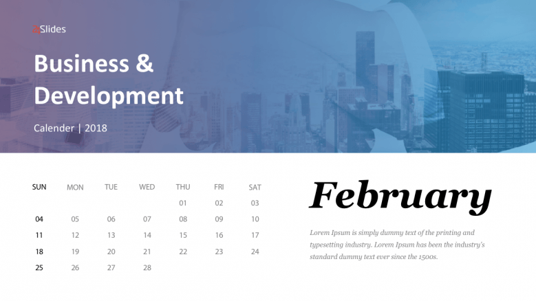 February business calendar slide
