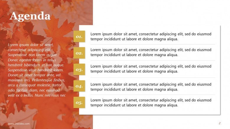Agenda Slide with Fall Background