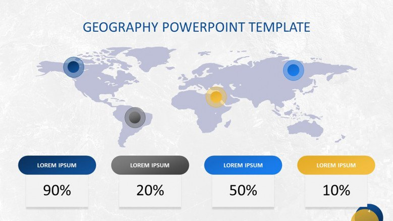 World Map Graphic with pointers and percentages