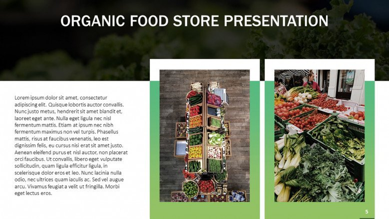 Organic Food Store slide with two images
