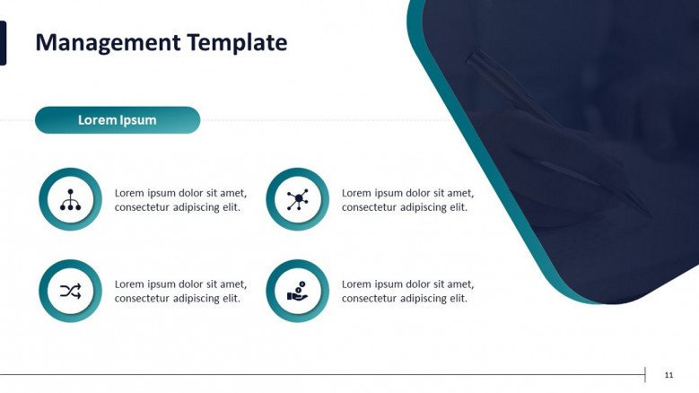 four key factors of project management in text box and icons