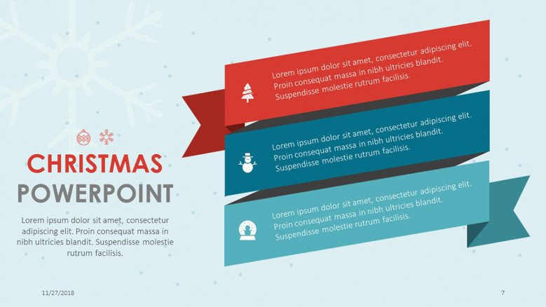 text slide for christmas themed presentation in three boxes
