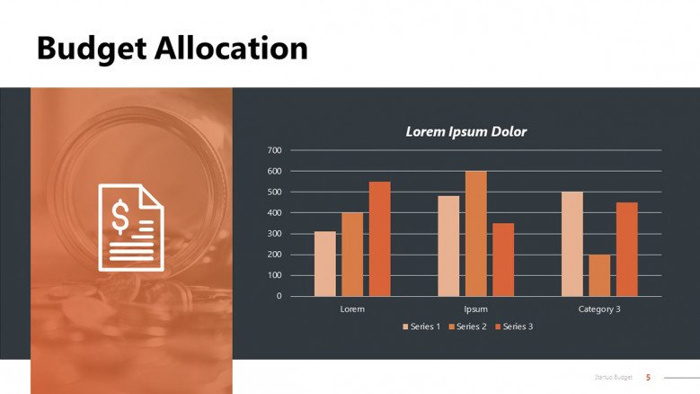Budget Allocation PowerPoint Slide with column charts