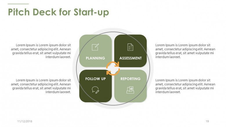pitch deck for start up in four boxes