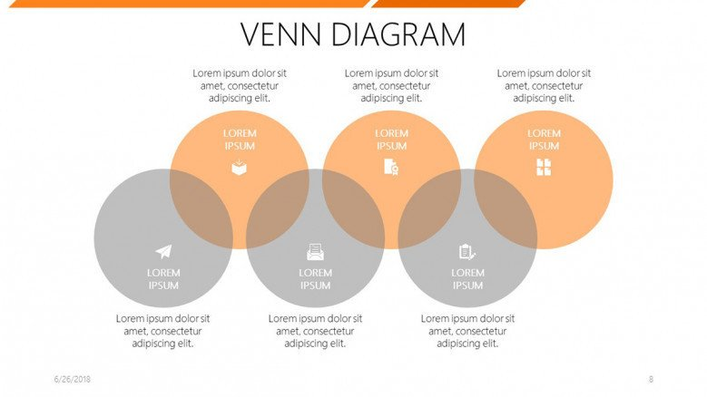 six set venn diagram with icons and comment box