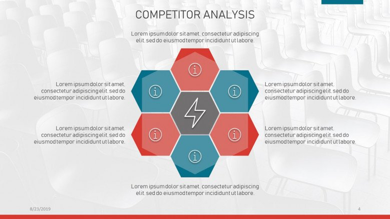 Circular diagram for competitor analysis with icons