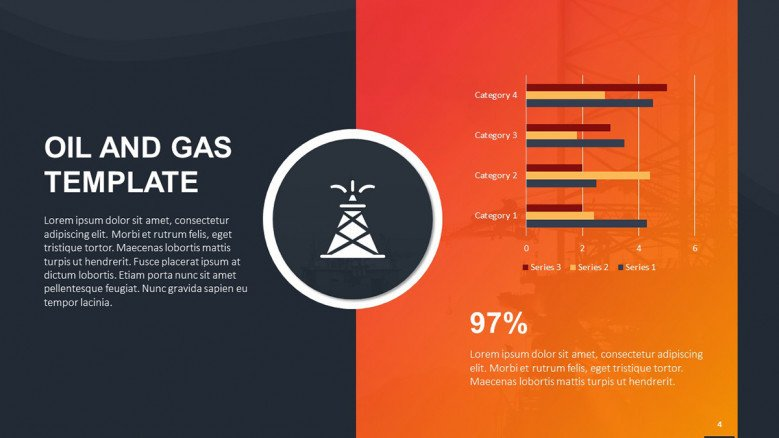 Colorful bar charts for oil and gas topics