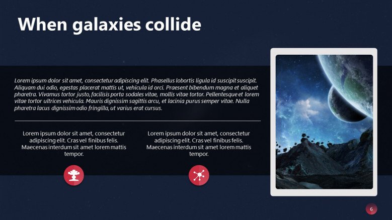 Galaxy explanation Slide with text and image
