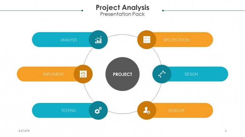 project analysis chart in six icon circles