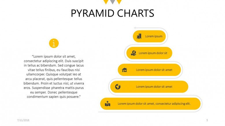 five steps flat pyramid chart slide