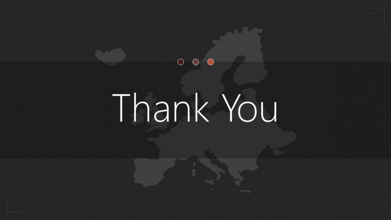 Europe map thank you slide