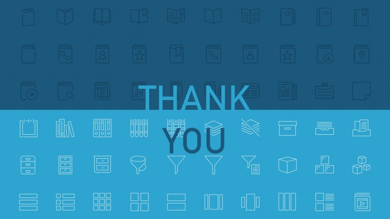 Blue thank you slide with work-related icons as background