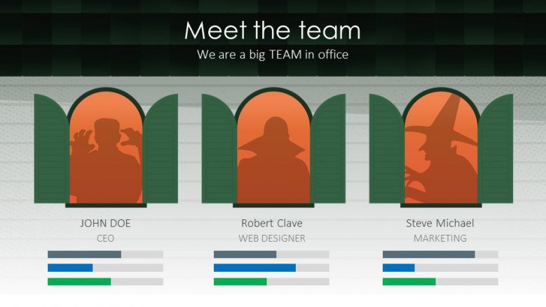 Meet the Team creative slide halloween theme organization presentation