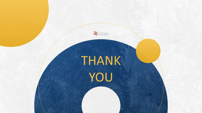 Blue and yellow thank you slide in creative style