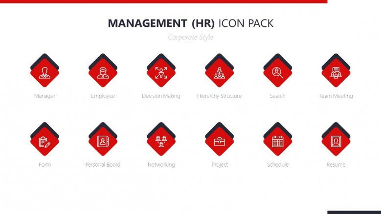 human resource management icon in red with corporate style