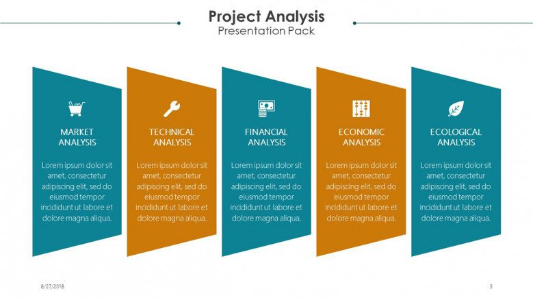 project analysis slide in five key factors with text box