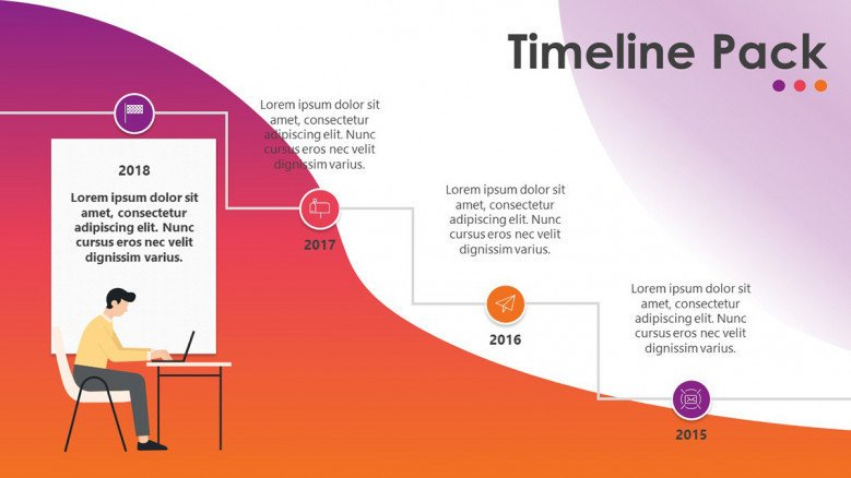 timeline slide in stair diagrams with comment text
