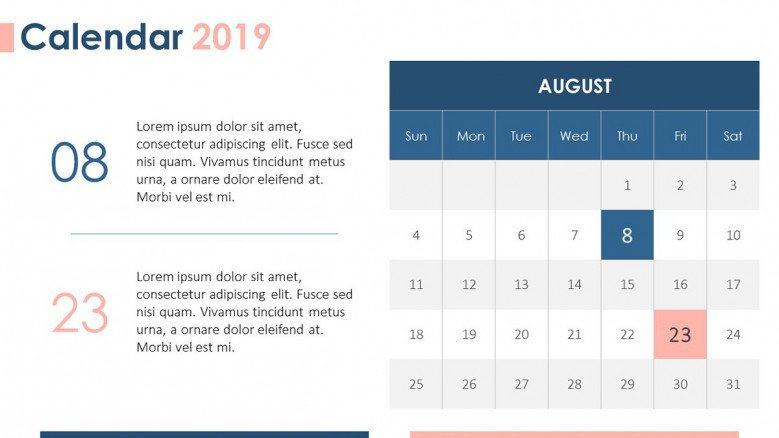 2019 calendar in August with daily plan description