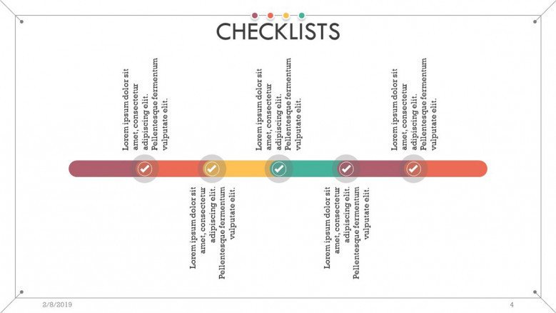 checklist presentation in timeline slide with text box