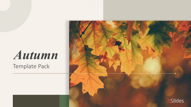 Autumn title slide with image of orange fall leaves