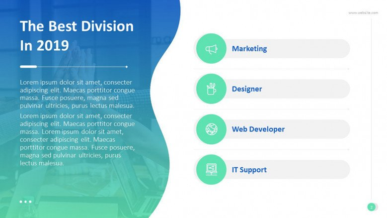 'The Best Division' congratulatory slide with four main text in bullet points