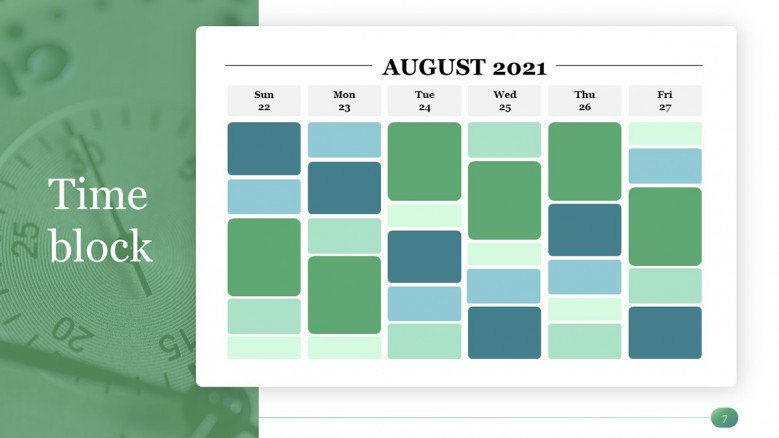 Time Block Calendar in PowerPoint for a Time Management PowerPoint Presentation