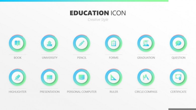education icons in blue and green creative style