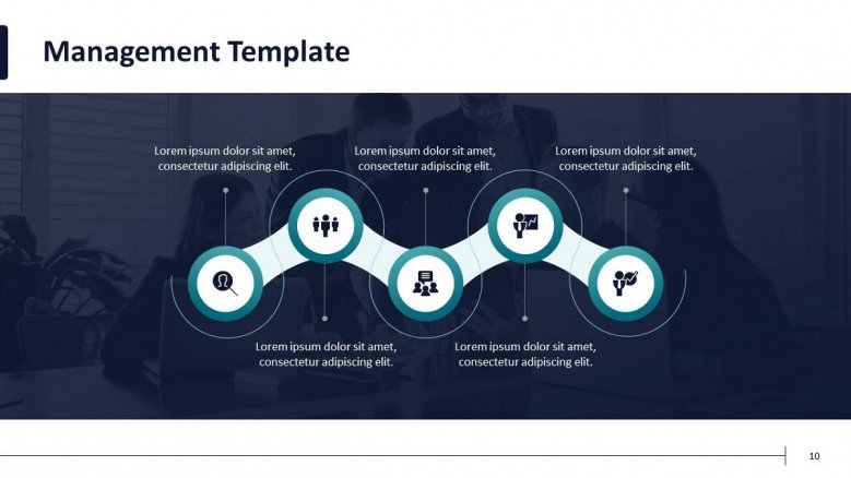 project management flowchart with icons and text box