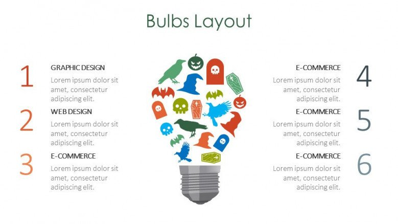 bulbs layout creative slide for halloween theme presentation